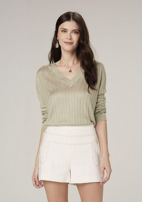 Suéter De Tricot Leve Decote V - Verde