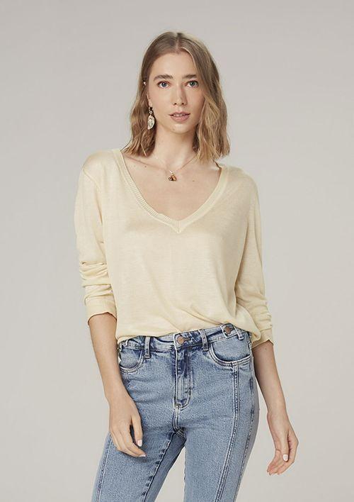 Suéter De Tricot Decote V - Amarelo