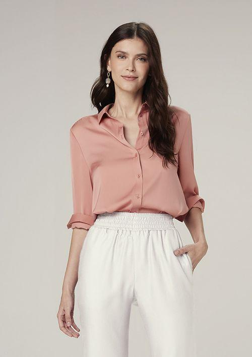 Camisa Manga Longa Em Cetim - Rosa