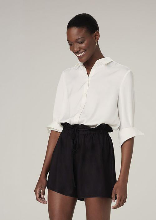Camisa Manga Longa Em Cetim - Off White