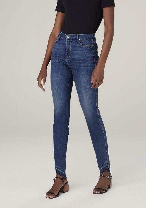 Calça Jeans Skinny Com Barra Desfiada - Azul