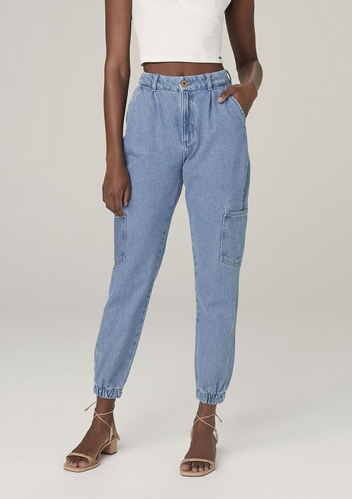 Calça Jogger Jeans Eco Denim Cintura Alta - Azul