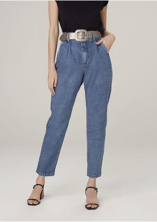 Calça Mom Jeans Em Algodão Cintura Alta - Azul
