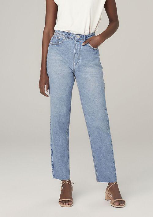 Calça Mom Jeans Eco Denim Em Algodão - Azul
