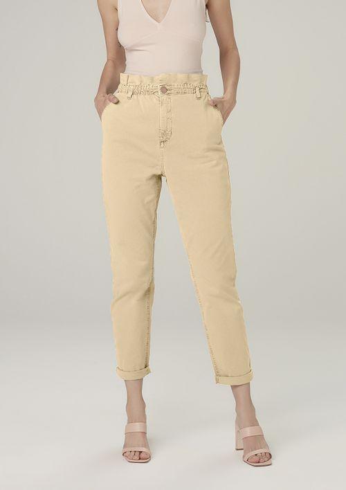 Calça Slouchy Em Sarja Cintura Alta - Amarelo