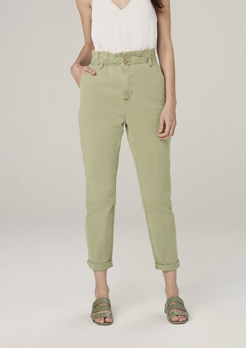 Calça Slouchy Em Sarja Com Cintura Alta - Verde