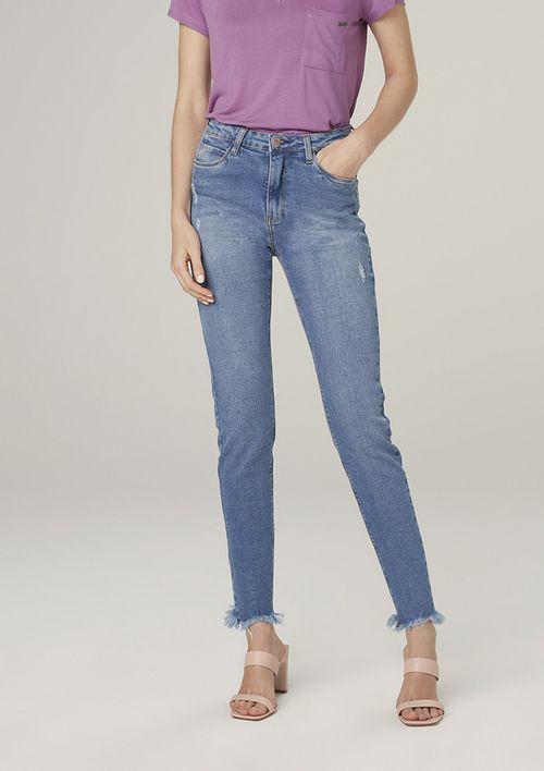 Calça Jeans Skinny Com Elastano Cintura Média - Azul