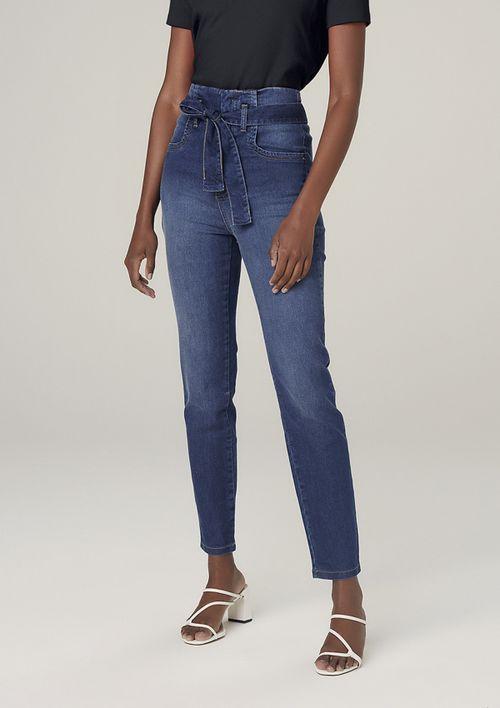 Calça Jeans Skinny Com Elastano Cintura Alta - Azul