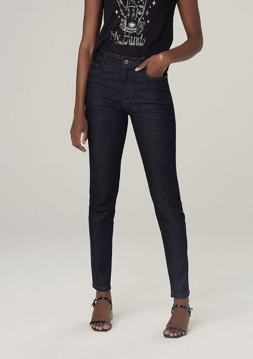 Calça Jeans Skinny Cintura Média Com Elastano - Preto