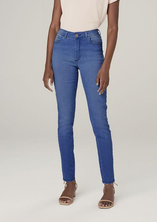 Calça Jeans Skinny Cintura Média Com Elastano - Azul