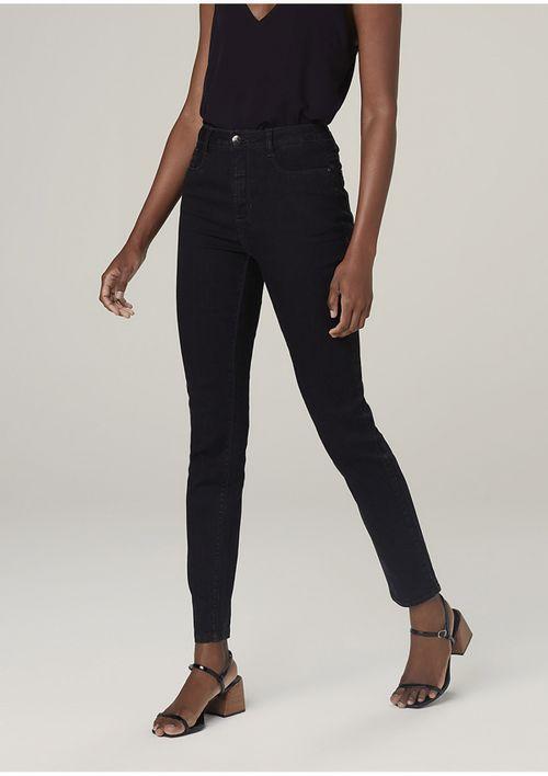 Calça Jeans Skinny Com Elastano Cintura Média - Preto