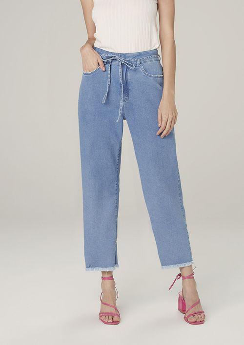 Calça Wide Jeans Com Elastano Cintura Alta - Azul
