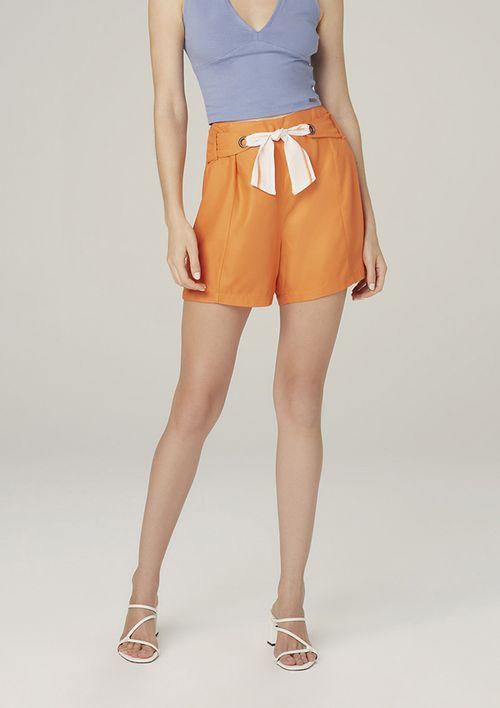 Shorts Em Viscose Com Textura Sarjada Cintura Alta - Laranja