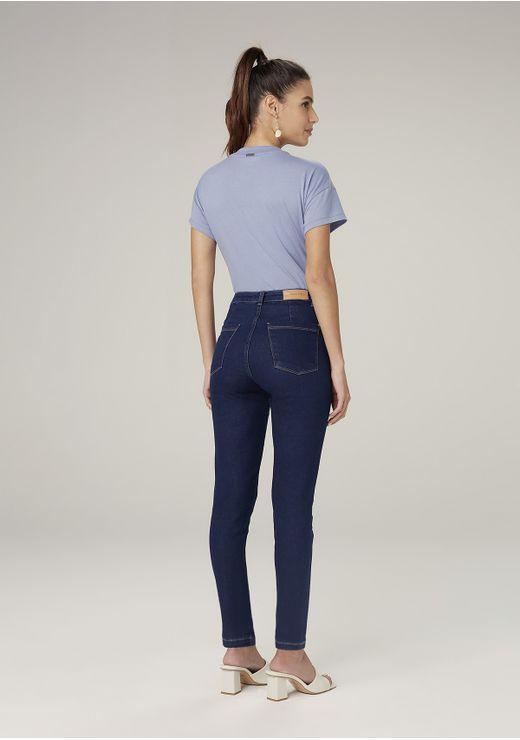 Calça Jeans Jegging Com Elastano Cintura Média - Azul