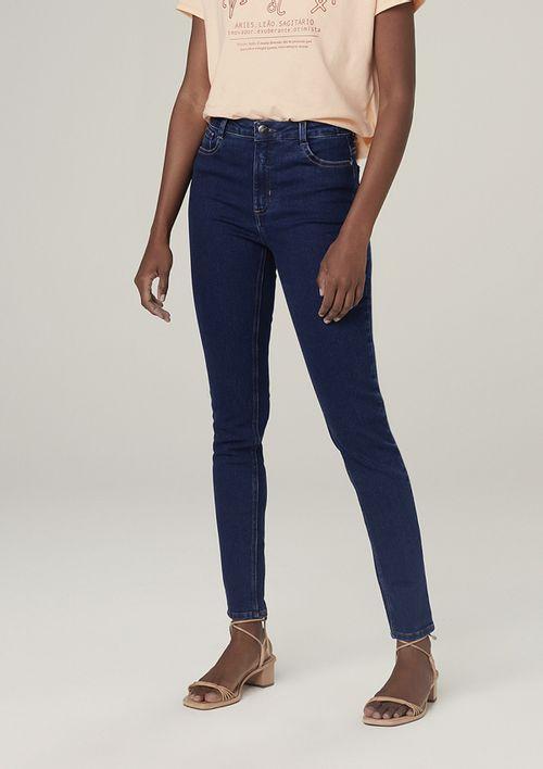 Calça Jeans Super Skinny Com Elastano Cintura Média - Azul