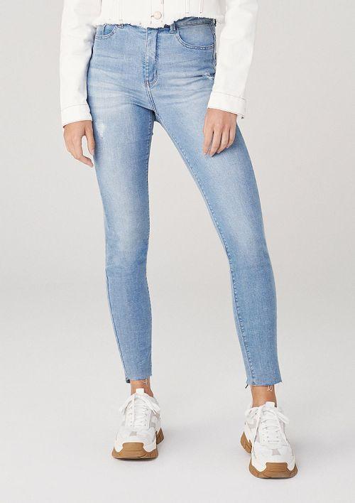 Calça Skinny Em Jeans Cintura Média Com Zíper - Azul