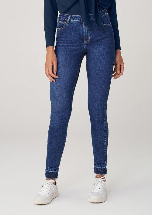 Calça Super Skinny Em Jeans Cintura Média - Azul