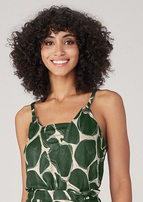 Body Em Tecido Estampado - Verde
