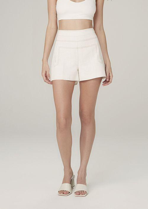 Shorts Alfaiataria Cintura Alta Evasê - Off White