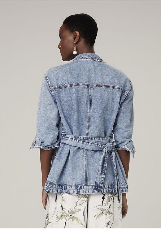 Jaqueta Jeans Em Algodão Com Shape Alongado - Azul