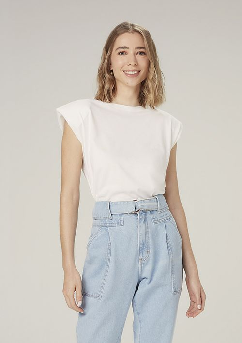 Regata Muscle Tee Com Ombreiras - Off White