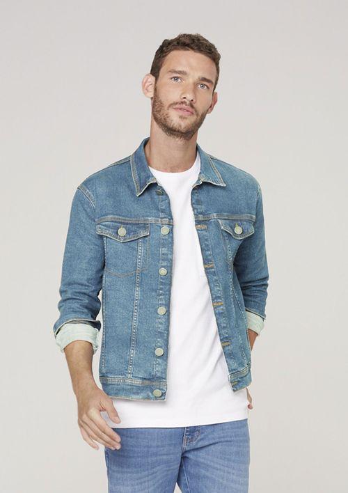Jaqueta Jeans Masculina Com Elastano - Azul