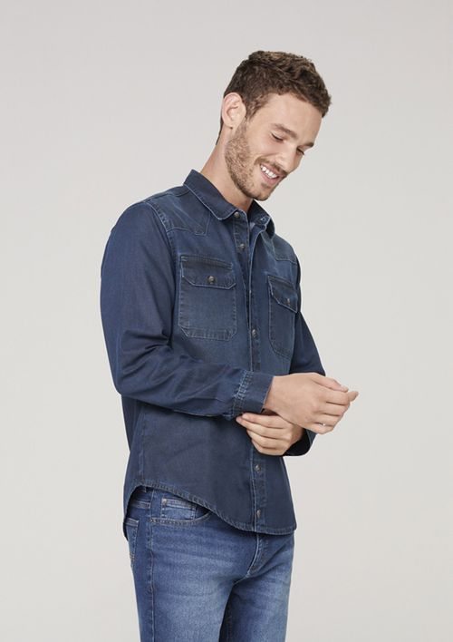 Camisa Jeans Masculina Slim - Azul