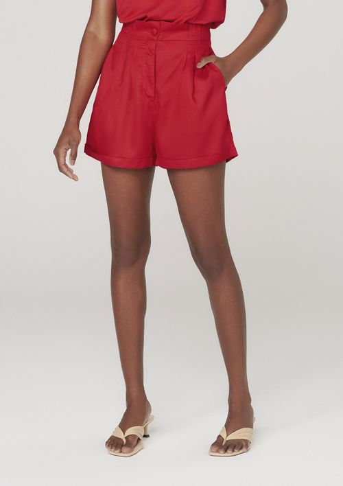 Shorts Feminino Em Viscose Com Barra Italiana - Vermelho