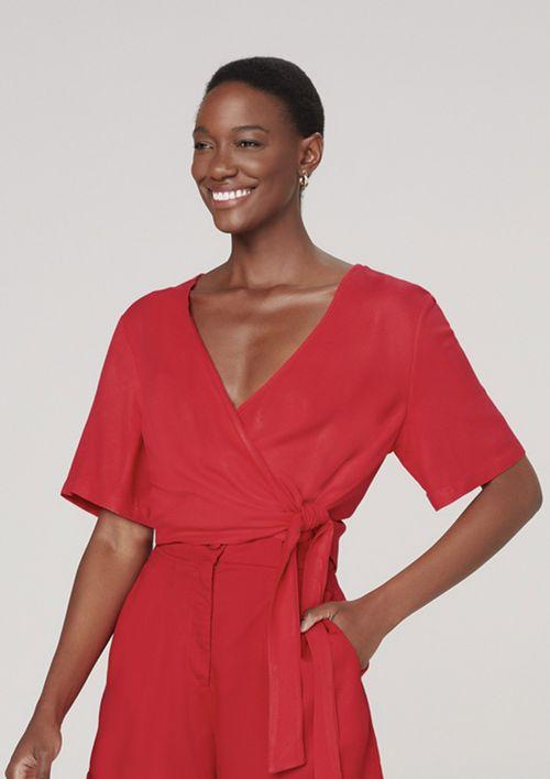 Blusa Feminina Acetinada Decote Em V Transpassada - Vermelho