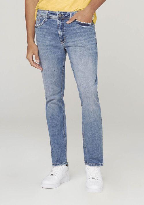 Calça Jeans Masculina Slim Com Elastano Em Eco Denim - Azul