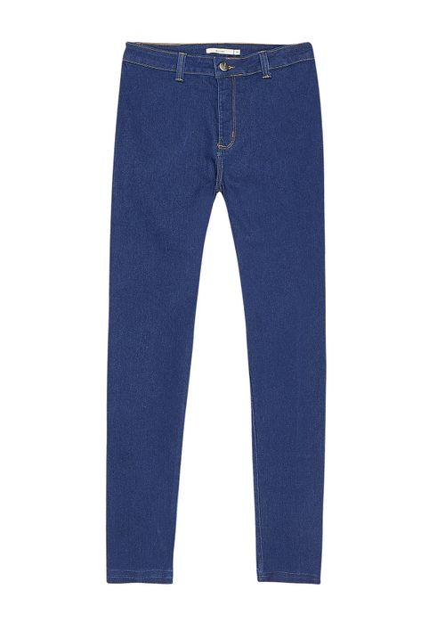 Calça Jegging Em Jeans Cintura Média - Azul