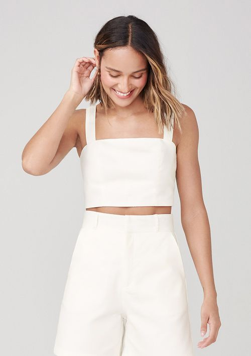 Top Cropped Com Alças Largas - Off White