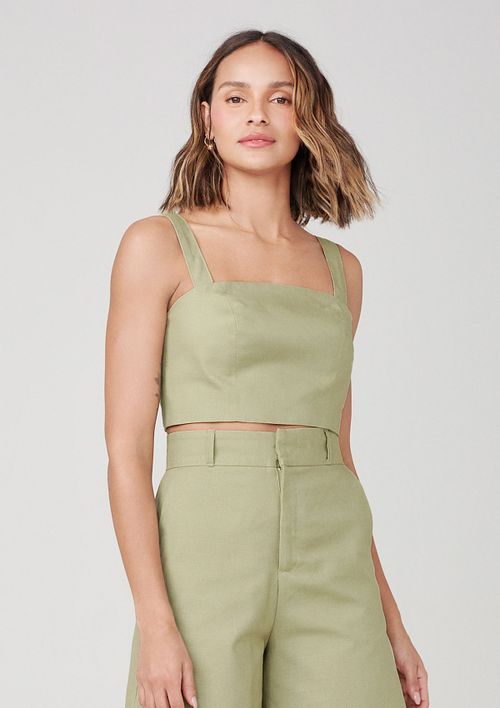 Top Cropped Com Alças Largas - Verde