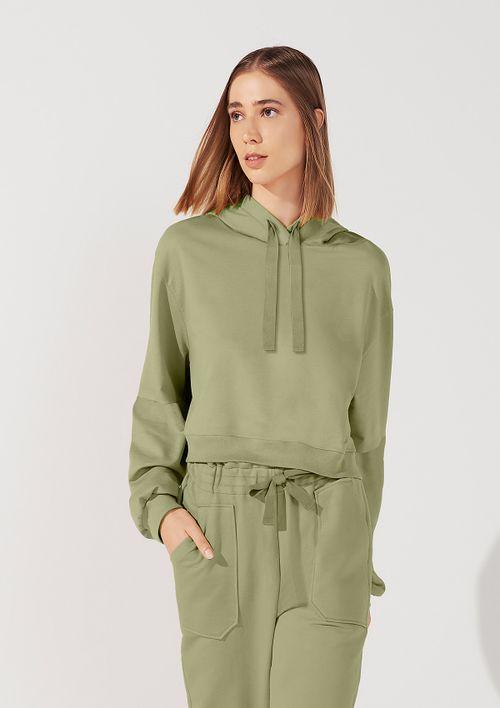 Blusão Moletom Cropped Com Capuz - Verde