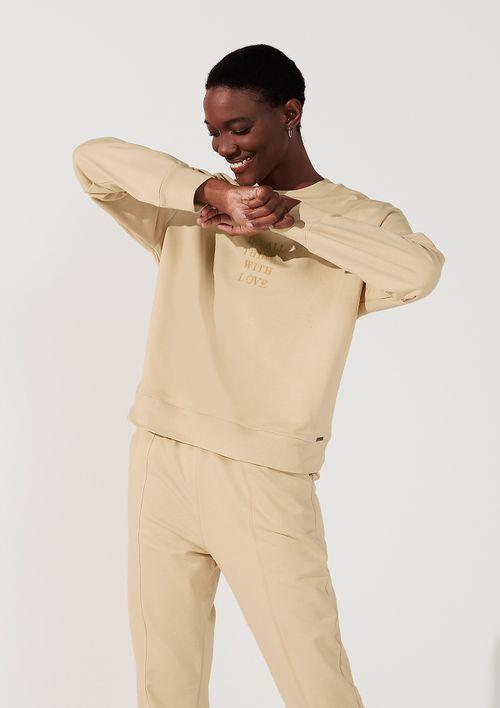 Blusão Alongado Em Moletom - Bege