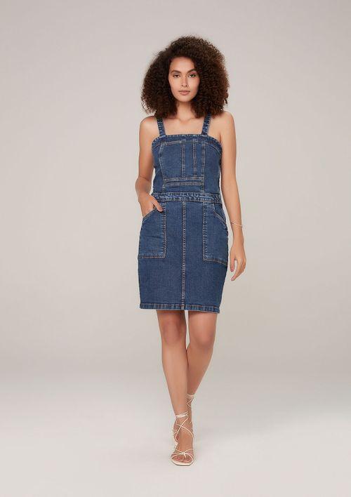 Vestido Jeans Em Eco Denim - Azul