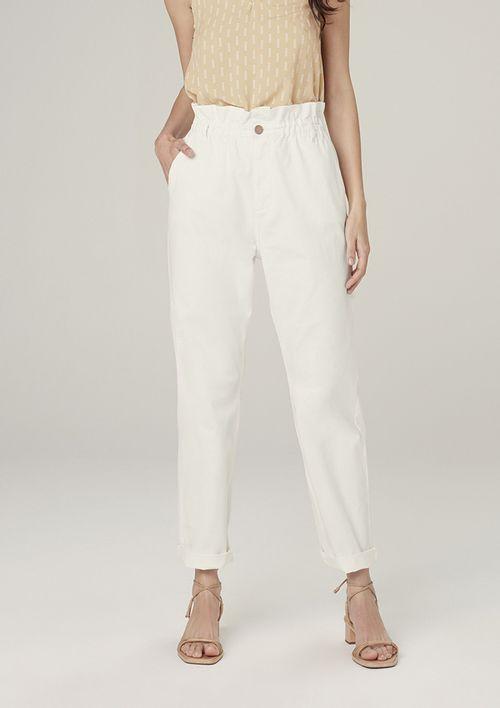 Calça Slouchy Em Sarja Com Cintura Alta - Off White