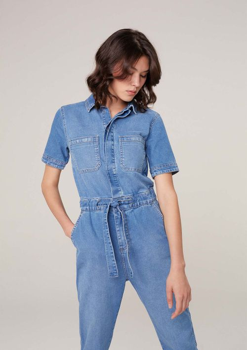 Macacão Jeans Com Elastano - Azul