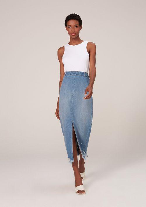 Saia Jeans Longa Destroyed - Azul