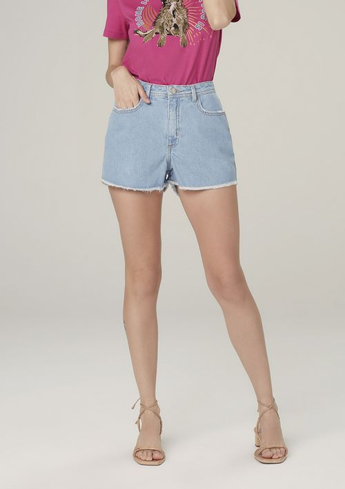Shorts Jeans Cintura Média Barra Desfiada - Azul