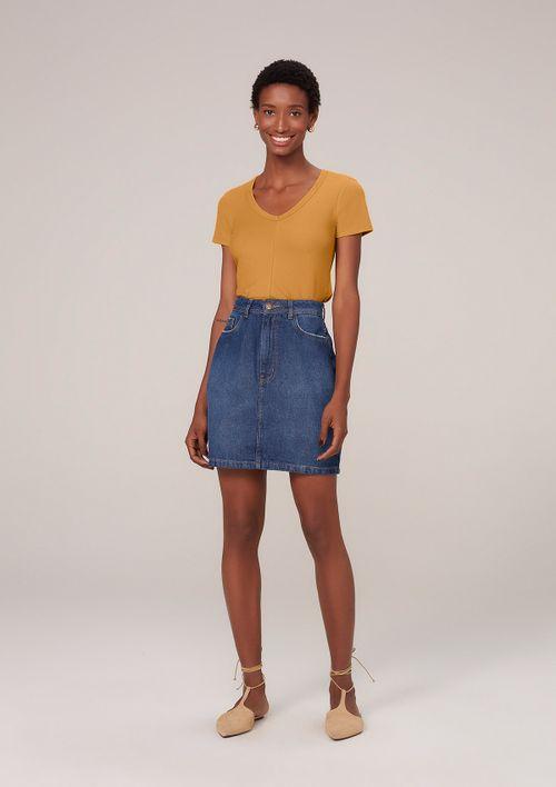 Saia Jeans Em Algodão - Azul