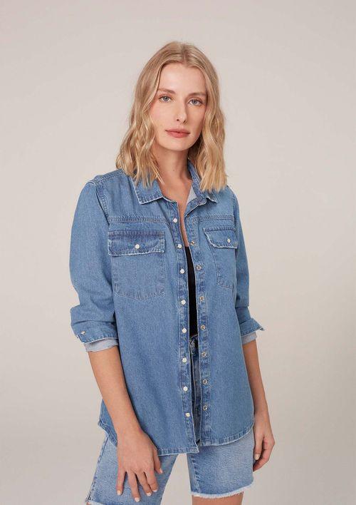 Camisa Jeans Em Algodão - Azul