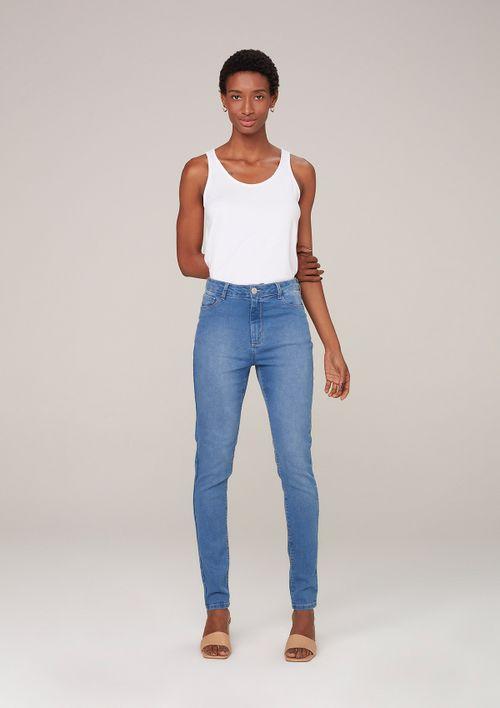 Calça Jeans Skinny Cintura Média - Azul