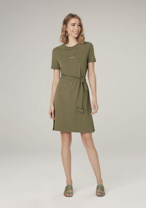 Vestido Curto Evasê Com Amarração - Verde