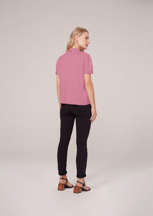 Camisa Gola Alta Em Algodão Com Silk - Rosa