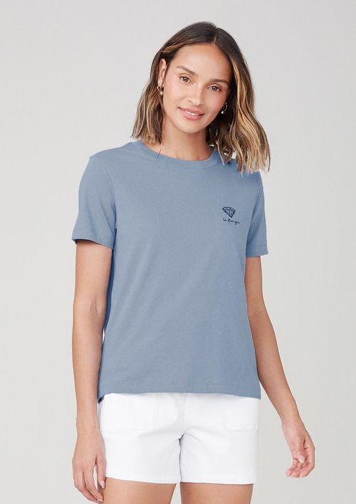 Camiseta Em Malha Com Bordado - Azul