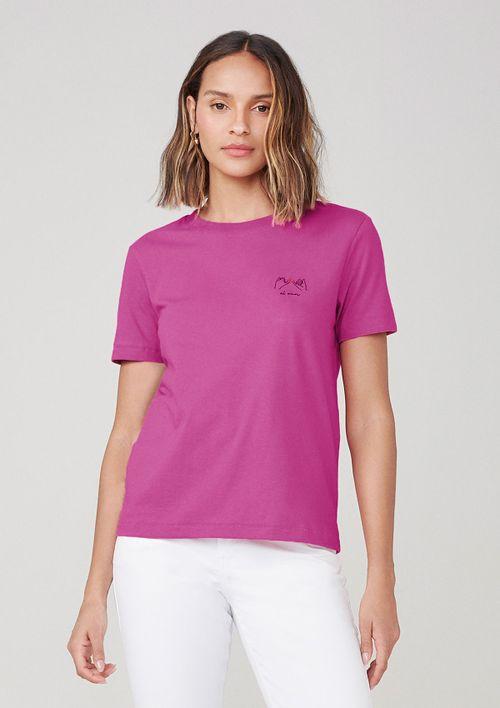 Camiseta Em Malha Com Bordado - Rosa