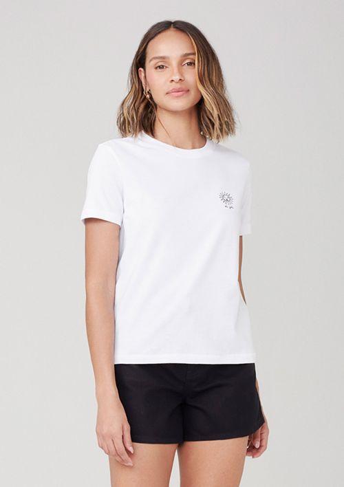 Camiseta Em Malha Com Bordado - Branco