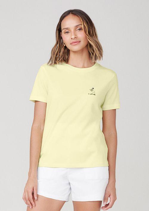 Camiseta Em Malha Com Bordado - Amarelo