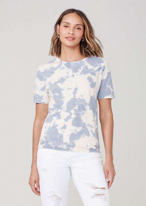 Camiseta Tie Dye Com Estampa - Azul